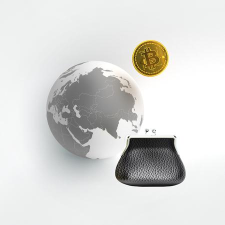 Bitcoin as a symbol world currency. globalization globalize worldwide universal global international. To Buy Bitcoins.