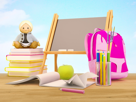 Education background concept. The school year is over.