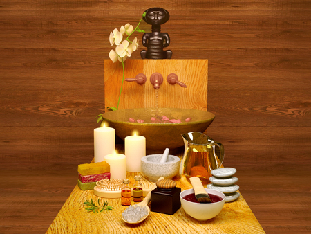 Spa and wellness setting with natural soap, candles and towel. Composition of spa treatment with orchid on wooden background.