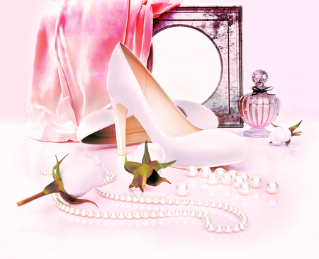 Perfume bottle, high heels, mirorr, roses and pearls located on pink background. Standard-Bild