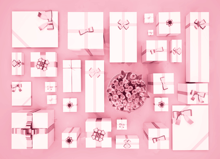 Gift boxes on color background. Top view. Gift boxes and flower bouquet on color background. Festive background. Standard-Bild
