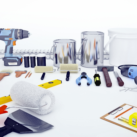 Repair Accessories. Set of tools and paints for making repair. Square.