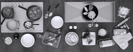 Stone countertop with dishes and products. Panorama. Top view.  版權商用圖片