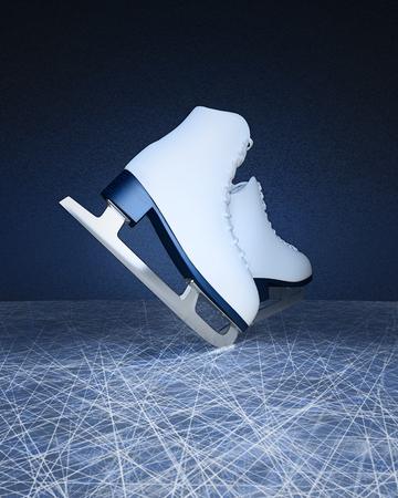 Pair of white Ice skates. Figure skates. Women's ice skates. Texture of ice surface.