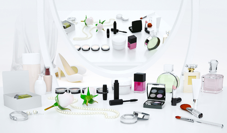 Cosmetics and fashion accessories are located on the dressing table.