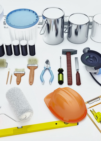 Set of tools and paints for making repair isolated on white background.