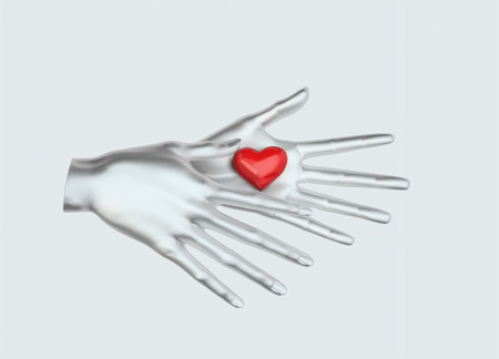 Woman's hands is open and gives or takes something. Heart shape in woman's hands isolated on gray background.