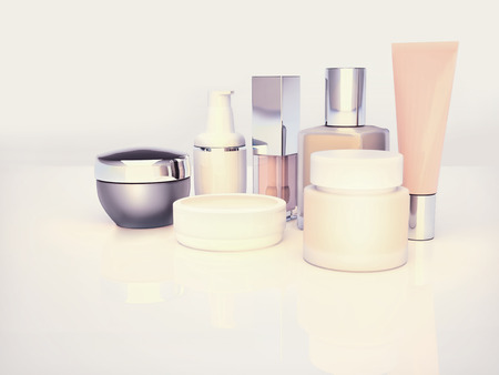 Daily, beauty care cosmetic. Face cream, eye cream, serum and lip balm located on a light gray. Skin care.