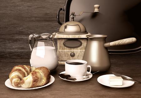 Coffee background. White cup of coffee,  chocolate, cream, croissants, butter on dark wooden background Standard-Bild