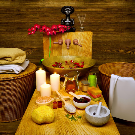 Composition of spa treatment with orchid on dark wooden background. Spa and wellness setting with natural soap, candles and aromatic oil. Spa still life with aromatic candles,orchid flower and towel. Standard-Bild