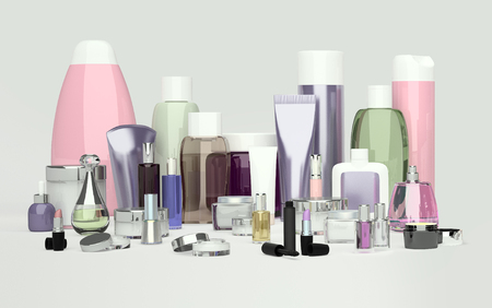 Daily, beauty care cosmetic and make-up products. Face cream, eye cream, serum and lip balm located on a gray background. Skin care.
