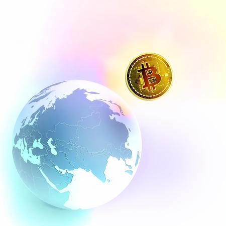 Bitcoin as a symbol world currency. globalization globalize worldwide universal global international. Bitcoin captures the globe.