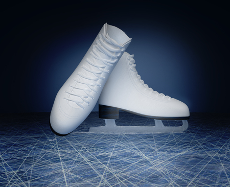 Concept of figure skating. The skates for figure skating located on skating rink.