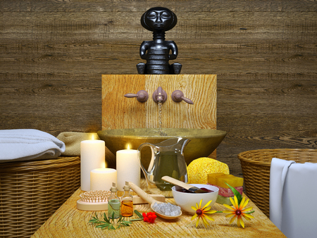 Spa and wellness setting with natural soap, candles and towel.Spa still life with candlelight.