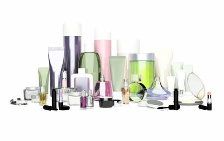 Daily, beauty care cosmetic and make-up products. Face cream, eye cream, serum and lip balm located on a white background. Skin care.
