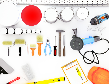 Tools for construction and renovation isolated on white background. Standard-Bild