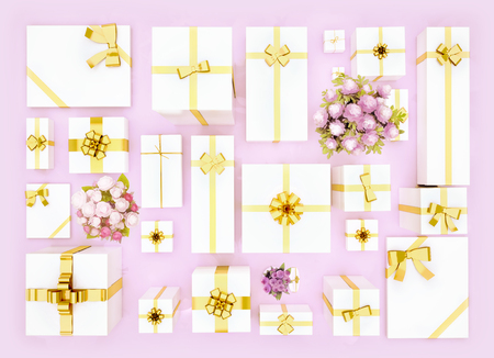 Gift boxes on pink background. Top view. Gift boxes and flower bouquet on color background. Festive background. Standard-Bild