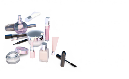 Makeup set on white background. Mascara, lipstick, pencil,  perfume bottle, comb, concealer, creams  located on a white background. The view from the top.