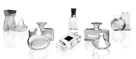 Perfume bottles  on white  background with reflection. Panorama. Standard-Bild