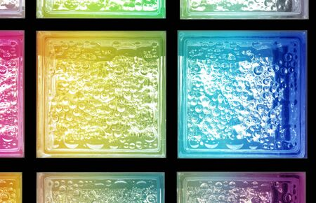 Panel rainbow gradient colors light transparent square mirror glass block cube and window panel with tiles texture and circle bubble pattern. Arrange in grid box. Use for backdrop and material.