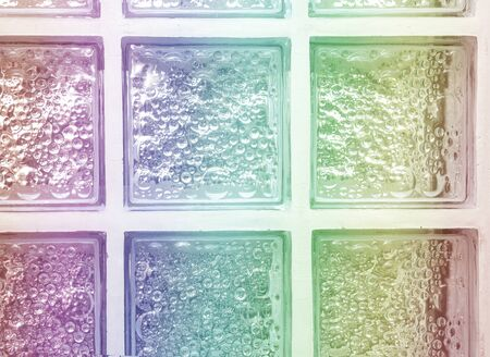 Isolated rainbow gradient colors light transparent square mirror glass block cube and window panel with tiles texture and circle bubble pattern. Arrange in grid box. Use for backdrop and material. Reklamní fotografie