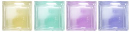 Isolated clear see through colorful transparent four square bathroom glass blocks cube with minimal white simple bubble smooth pattern. Use for object and materials. Arrange in horizontal panel. Фото со стока