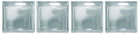Isolated clear blue see through transparent four square bathroom glass blocks cube with minimal white simple bubble smooth pattern. Use for object and materials. Arrange in horizontal panel.