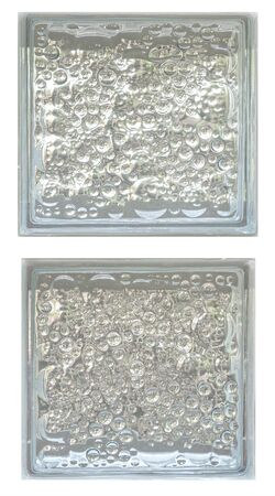 Lucid gloss transparent two double twin square bathroom glass block cube and have circle bubble pattern clear rough texture .Use for object and material. Arrange in vertical way and can be connected.