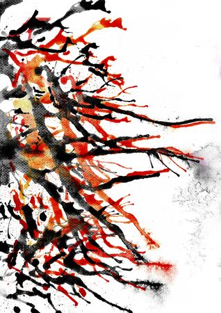 Black and orange straw blow watercolor technique ฺฺon paper to make paint stroke stain and paper rough surface. Use black ink Japanese zen wet on wet blow drawing Banco de Imagens