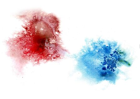 Watercolor drop and salt texture hand technique. Illustration for background and cover. Colors spot techniques on paper to make paint stroke stain and paper rough surface. Use for art object. Imagens