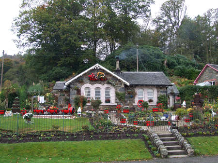 Red Garden House Stock Photo