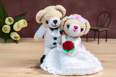 romantic background: Lovely wedding bear dolls