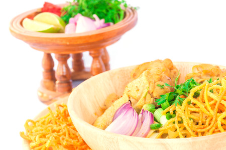 soi: Khao Soi, Northern Thai curry noodle isolated over white background