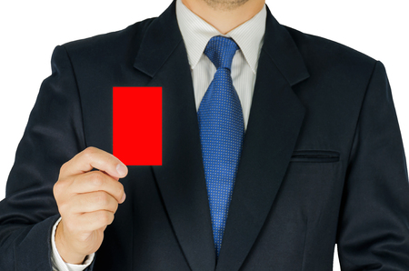 show of hands: Business man is showing red card isolated over white. Photo includes two clipping path white background and card.