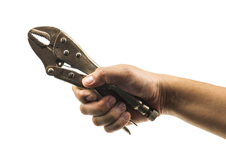 locking: Mans hand holding locking pliers isolated over white