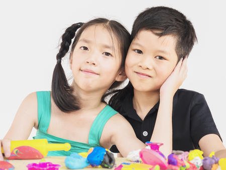playdoh: Asian kids are playing  colorful clay toy