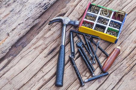 workmanship: Leathercraft hand sewing tool set Stock Photo