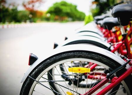 rentals: Bicycle rentals wheel in a row near to the road