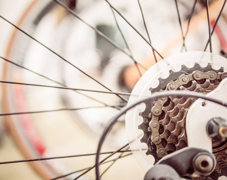 bicycle gear: Warm vintage style photo of close up bicycle gear