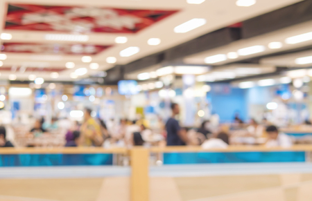 superstore: Blurred photo of food court and people in a superstore Stock Photo