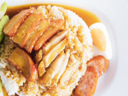 Barbecued red pork in sauce with rice, Thai style traditional food