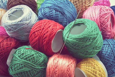 group of colourful ball: Bright colored yarn balls background