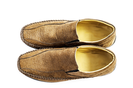 no heels: Top view of new brown leather fashion shoe for man isolated over white Stock Photo