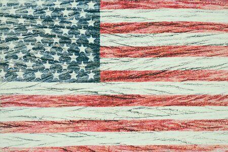 USA flag overlay on old wood grain texture