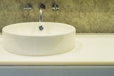 bathroom interior: Bath room sink in a hotel Stock Photo