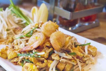 Favorite Thai fried noodle food name Pad Thai 免版税图像