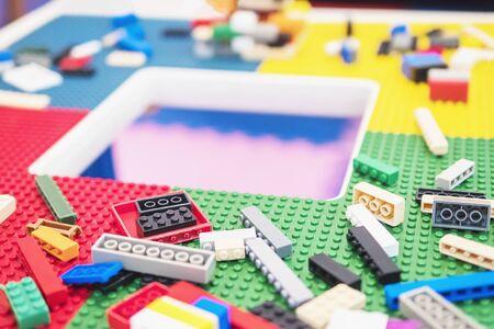 Colorful toy block puzzle set for children brain practice 免版税图像