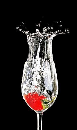 strawberry splash: strawberry splash in water