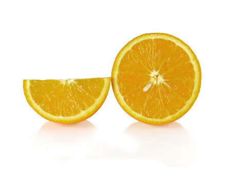 segments: Two orange fruit segments or cantles isolated on white background