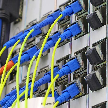 patch panel: fiber optical network cables patch panel Stock Photo